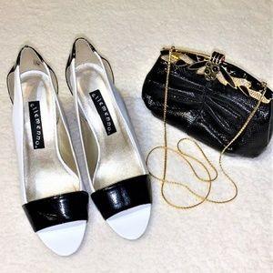 ELLEMENNO 'Spectate' Black White Peep Toe Heels